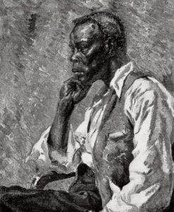 Portrait of a black life model by Angus P Sturrock, 1932